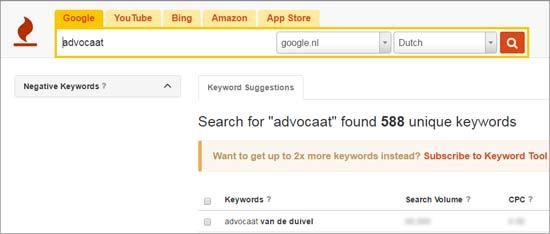 Zoekwoorden voor SEO teksten vinden met Keywordtool.io