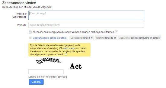 Zoekwoorden vinden met de google keyword tool