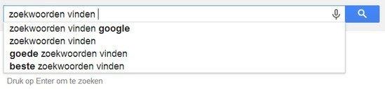 Zoekwoorden vinden met Google