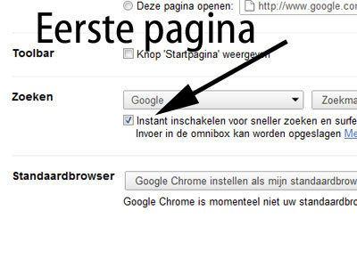 Google Instant inschakelen
