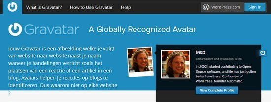 Avatar in WordPress