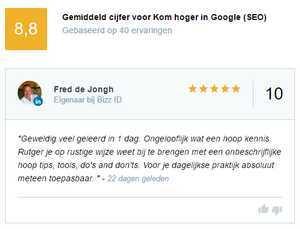 Beoordeling voor trainingen van SEO Zwolle en CopyKing